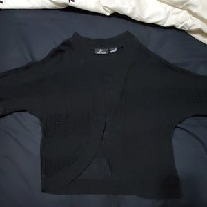 Open stitch knit cardigan black size L